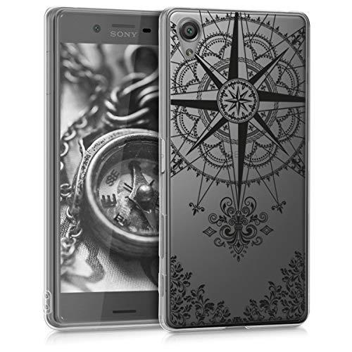 kwmobile Funda Compatible con Sony Xperia X - Carcasa de TPU y Rosa los Vientos en Negro/Transparente
