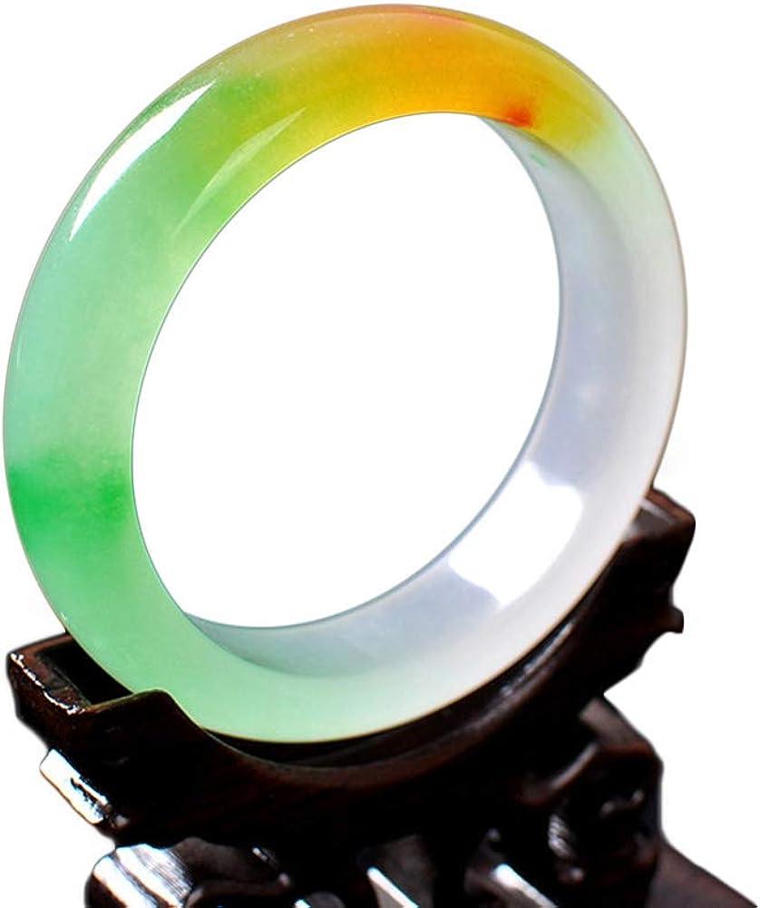 HSUMING Tricolor Jade Bangle Bracelet for Women Natural Jade Grade A Floating Flowers Bangle (58-62mm),62