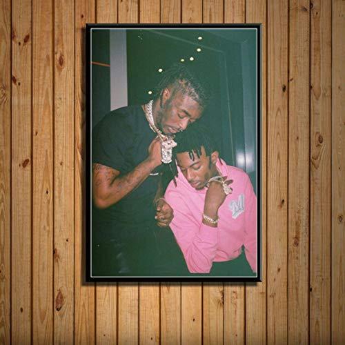 shuimanjinshan Playboi Carti & Lil Uzi Vert Rap Hip Hop Sänger Star Art Malerei Leinwand Poster Wand Wohnkultur Kunstwerk 40x60cm Kein Rahmen HZ-571