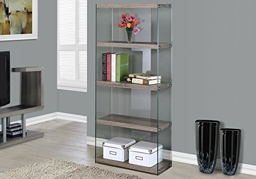 Monarch Specialties Bookcase - 5-Shelf Etagere Bookcase - Contemporary Look with Tempered Glass Frame Bookshelf - 60'H (Dark Taupe)