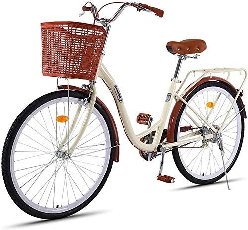 Wheels Bicicleta Retro De Las Mujeres, Bicicleta De Cercanías De 26 Pulgadas De Dama A Través De La Velocidad De La Bicicleta Urbana 7, con La Cesta De La Bicicleta De La Ciudad De Las Mujeres
