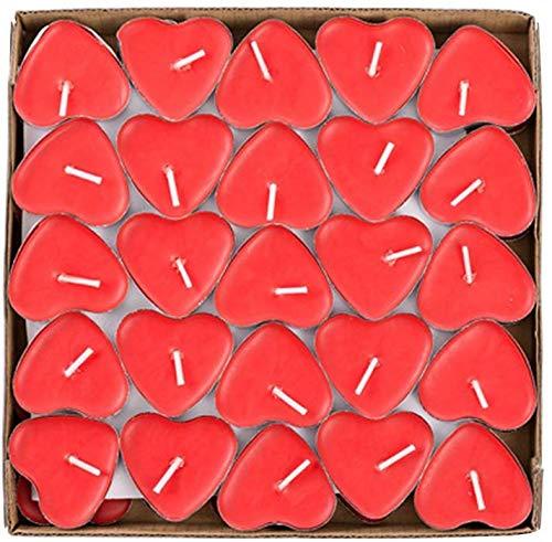 THE TWIDDLERS 50 Velas Corazón Rojo, Candelitas Románticas Sin Humo - 3,8cm