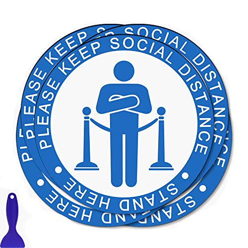 Social Distancing Floor Decals, 12' Round Safety Floor Sign Sticker, Please Keep 6 Feet Apart Decal, Crowd Control for Guidance, Hospital, Restaurant,Station and Other Public Places (5 Pack)