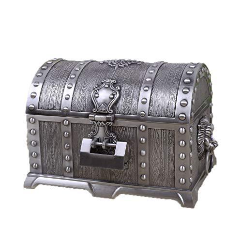 Castillo decorativo, cofre del tesoro pirata retro europeo, cofre organizador de almacenamiento...