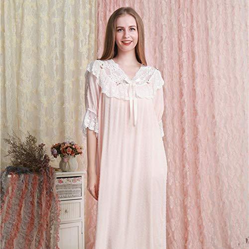 STJDM Nachthemd,Nachthemd Frauen Kleid Prinzessin Schlafshirts Vintage Nachthemd Rosa Baumwolle Romantische Lounge Nachtwäsche OneSize Pink