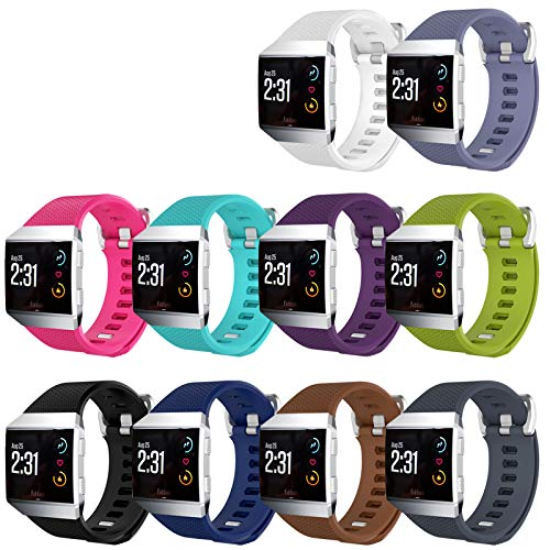 KingAcc Compatible Replacement Bands for Fitbit Ionic, Soft Silicone Fitbit Ionic Band with Metal Buckle Fitness Wristband Strap Women Men (10-Pack, 10 Colors, Small)
