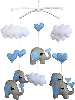 bébé Jouet mobile musical fait main de lit bébé Cadeau de Noël Éléphant et nuages