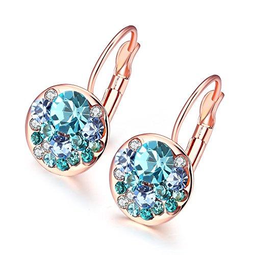 Hanie - Pendientes de aro para niñas de 23 mm de diámetro, oro rosa, con cristales de color azul aguamarina y Wihite Elements, joyería sin alérgenos para mujeres y niñas