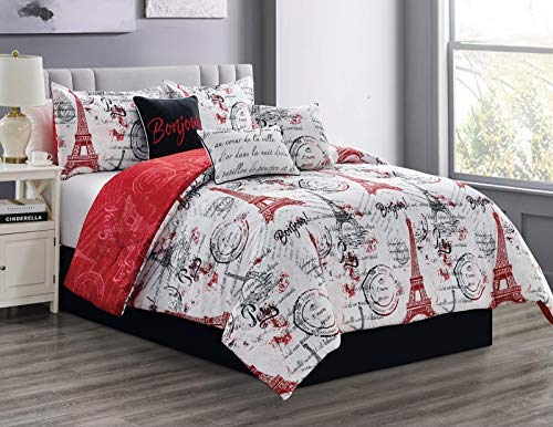 LinenTopia King Comforter Set - Elegant 7-Piece Comforter Set for Your Bedroom's Decoration - Cozy Bed Comforter King Bedding Set - Easy to Clean Comforter for Your Guestroom, (Paris, K, Red)