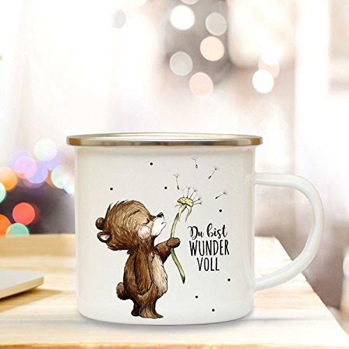 ilka parey wandtattoo-welt Emaille Tasse Becher mit Bär Pusteblume Kaffeebecher Camping Becher mit Spruch Du bist Wundervoll eb26