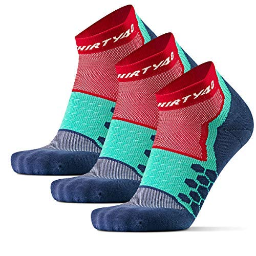 Thirty48 Performance Compression Low Cut Running Socks for Men and Women | More Compression Where Needed ([3 Pair] Red/Blue, Large - Women 9-10.5 // Men 10-11.5)