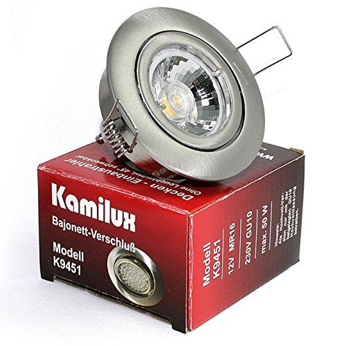 5er Set Einbaustrahler/Spot Bajo in Edelstahl-gebürstet, Halogen oder LED geeignet, inkl. GU10 Fassung und MR16 Fassung, 12Volt oder 230V, ohne Leuchtmittel