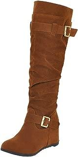 ELEEMEE Women Fashion Wedge Heel Knee High Boots Pull On
