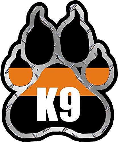 SAR Search and Rescue K9 Paw Decal K-9 Dog Unit Thin Orange Line Vinyl 3M Reflective Sticker