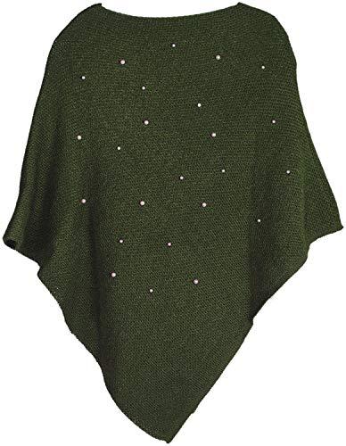 styleBREAKER Damen Feinstrick Poncho mit Perlen Applikation, Rundhals 08010056, Farbe:Oliv