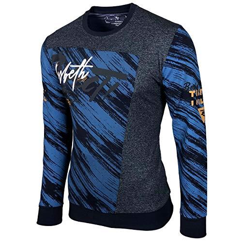 Baxboy Herren Pullover Hoodie Sweatjacke Longsleeve Sweatshirt Jacke Langarm Kapuzenpullover Hoody Sweater 2628, Farbe:Blau, Größe:M