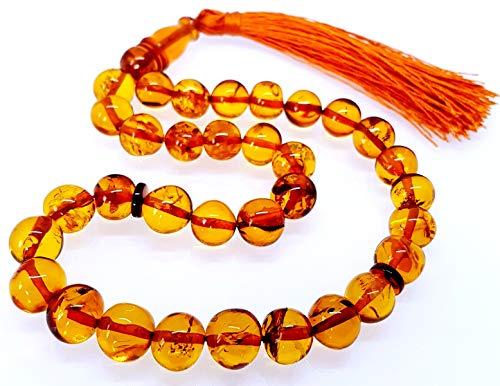 Ambermilana Baltischen Bernstein Gebetskette Rosenkranz/Tesbih Islamische Gebetskette 33 Perlen Barock Kugel Perlen