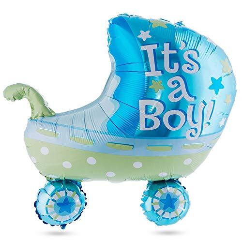 Babyshower Heliumballon Feestdecoratie Kinderwagen Ballonjongen; Blauw - voor het vieren van de aankondiging van het geslacht