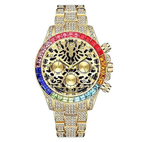 LuBHnna Orologio al Quarzo ghiacciato per Uomo Colori Oro Argento Diamanti Simulati Calendario Cronografo Bracciale Orologio Leopard Watch per Uomo e Donna