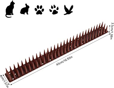 12Pcs[16.97FT] Defender Spikes Cat and Bird Repellent Outdoor Fence Security Control Repellent Spikes for Outdoor, Wall, Fenc