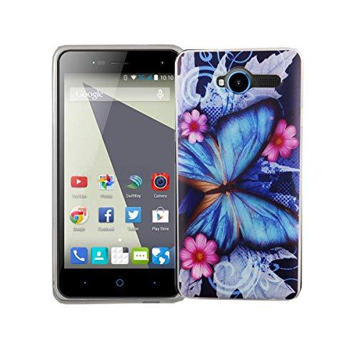 König Design Handy-Hülle kompatibel mit ZTE Blade L3 Silikon Case Hülle Sturzsichere Back-Cover Handyhülle - Schmetterling Blau