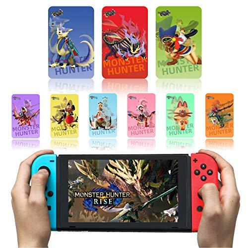 Para 9 tarjetas de etiquetas Monster Hunter Rise NFC, incluyendo Palamute, Palico, Magnamalo, compatible con Switch/Lite con estuche de almacenamiento
