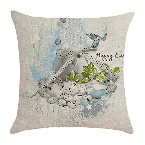 Watopia Funda de almohada de Pascua, funda de almohada de lino, fundas de cojín cuadradas, fundas de almohada personalizadas para sofá, decoración del hogar, fiesta, 45 cm x 45 cm
