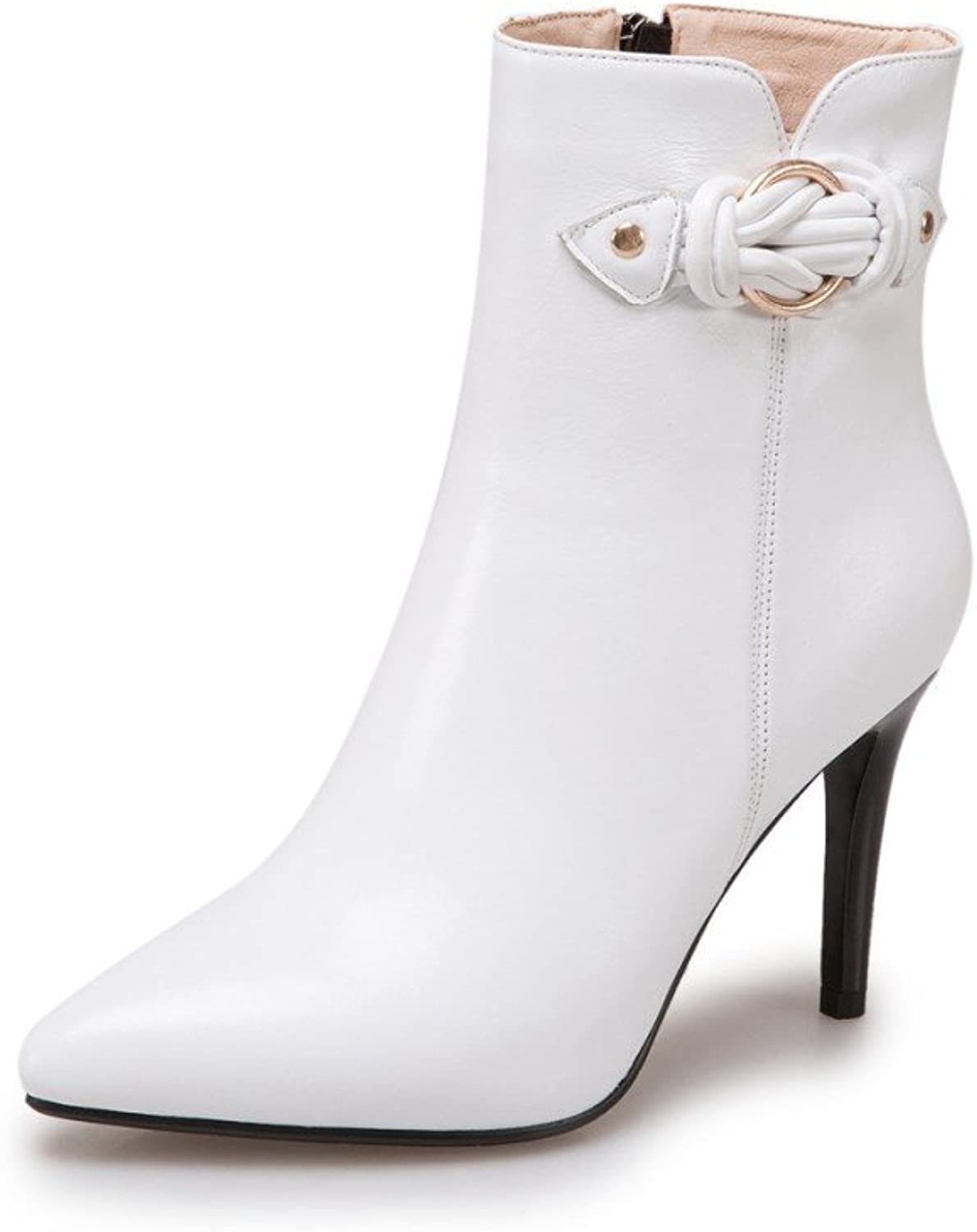 Nine Seven Genuine Leather Women's Clear Pointed Toe Ankle Booties - Handmade Gorgeous High Heel Dress Boots