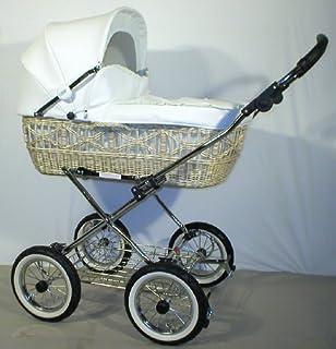 EICHHORN Weidenkorb Kinderwagen Korb Natur Kunstleder Weiß Innenstoff K061