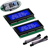 GeeekPi 2Pack LCD 2004 Module with I2C Interface Adapter Blue Backlight 2004 20x4 LCD Module Shield for Raspberry Pi Arduino Uno
