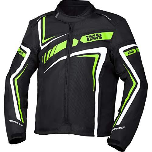IXS Motorradjacke mit Protektoren Motorrad Jacke RS-400-ST 2.0 Sport Textiljacke schwarz/grün/weiß XL, Herren, Sportler, Ganzjährig, Polyester