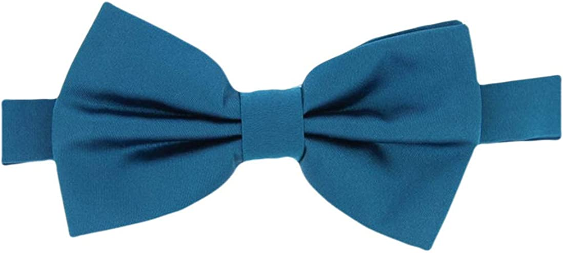 David Van Hagen Mens Plain Satin Silk Bow Tie - Teal - Untied