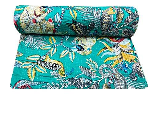 Colcha de algodón doble Kantha india manta hecha a mano con costura individual Boho azul mono estampado dormitorio Gudri