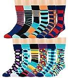 ZEKE Men's Pattern Dress Funky Fun Colorful Crew Socks 12 Assorted Patterns (Variation S)