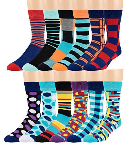 Boy's Pattern Dress Funky Fun Colorful Socks 12 Assorted Patterns Size 3-9