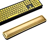 SurnQiee Premium Microfiber Leather Keyboard Wrist Rest Support Pad Memory Foam for Easy Typing Wrist Pain Relief Ergonomic Design Durable Lightweight Anti-Skid Wrist Cushion (17 x 3.2 inches, Gold)