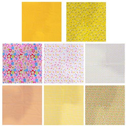 LUOEM 8 Piezas Piezas de Tela de Acolchado Cuadrados de Tela Artesanal Paquete de Retazos Cuadrados para Costura DIY Scrapbooking Acolchado Amarillo