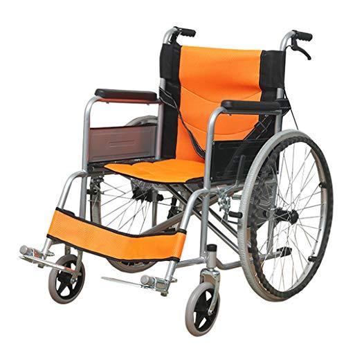 RUIVE Selbstfahrende Rollstühle Klappbare leichte, Bequeme Rückenlehne Verstellbarer Sicherheitsgurt Aluminium-Transit-Rollstuhl mit Begleitbremsen, Gehhilfen für Senioren