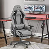 Okeysen Gaming Chair,Ergonomic Recliner High Back Computer Game Chair with Retractable Footrest, Massager and Upgraded headrest, Racing Style Swivel Office Desk Chair, Mesh Home Chair (Grey)