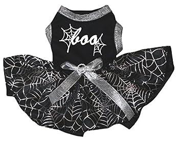 Petitebella Cobweb Boo Puppy Dog Dress  Black/Silver Cobweb Small