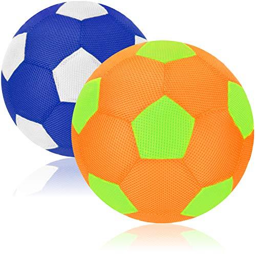 com-four® 2X Aufblasbarer Stoff-Wasserball 30 cm - Beach-Fußball für den Sommer - Netzball für Garten, Strand und Wasserspaß