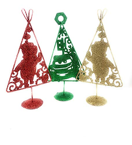 Thermal kits Disney Pooh & Cars Metal Glitter Xmas Tree 10' 6 Pack - Gold Red & Green Assorted