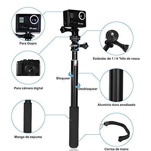 GHB Palo Selfie Gopro para Poste de extensión telescópica Gopro Palo con Polo Monopod para GoPro héroe 4/3 + / 3/2 SJ4000 SJ5000 DV Cámara Sony Action CAM/Canon/Nikon etc.