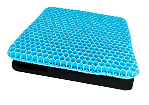 Gel Sitzkissen Gelkissen,sitzkissen orthopädisch mit Anti-Rutsch Bezug & mit innovativer Honigwaben Konstruktion Gel-Kissen für Auto, Büro- & Rollstuhl(Himmelblau)