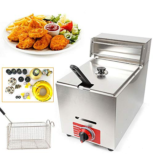 10 Liter Commercial Deep Fryer w/Basket and Lid High Capacity Professional Countertop Gas Fryer Kitchen Frying Machine for French Fry Restaurants Supermarkets Fast Food Stands Snack bars, Parties