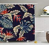 remmber me Tropische Blumen Duschvorhang Nacht Tropische Dschungel Blätter & Blumen dunkelblauen Stoff Duschvorhang wasserdicht Badezimmer Dekor Polyester Stoff Vorhang Sets mit Haken 60 x 72 Zoll