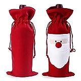 Négocier et petit, Sac de bouteille de vin de Noël étui à cordon de papier cadeau dîner de fête de Noël Boisson Pouch Decor 1 Pack Red Santa