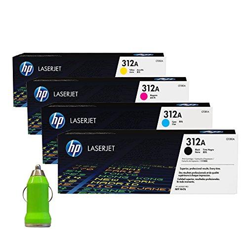 HP Original Toner Set 312A (CF380A / CF381A / CF382A / CF383A) für Color LaserJet Pro MFP 476 DN, DW, NW, inkl. Tonerliga KFZ USB-Adapter