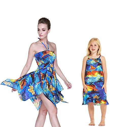 Madre e Hija Que Hacen Juego con el Vestido Luau de Hawaii Chica Túnica en Puesta de Sol Rojo 6