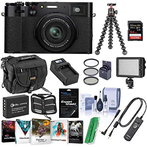 Fujifilm X100V Digital Camera, Black - Bundle with Camera Case, 64GB SDXC Card, RR-100 Remote Release, Joby GorillaPod 3K Kit Black, Spare Battery, Charger, Bi-Color LED Light, Software, More
